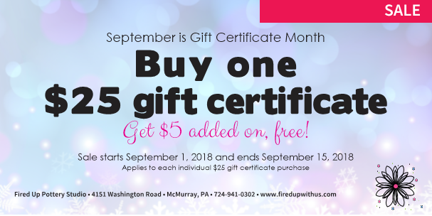 Gift Card Sale Firedup Paint Your Own Pottery And More